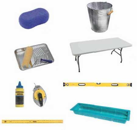 губка-валик-обои-ведро-инструменты-отвес-стол