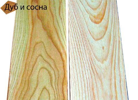 Дуб и сосна для состаривания древесины