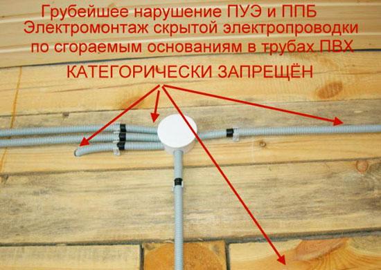 Нарушение при проводке электричества