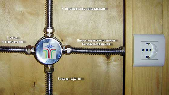 Прокладка проводки в гофрах