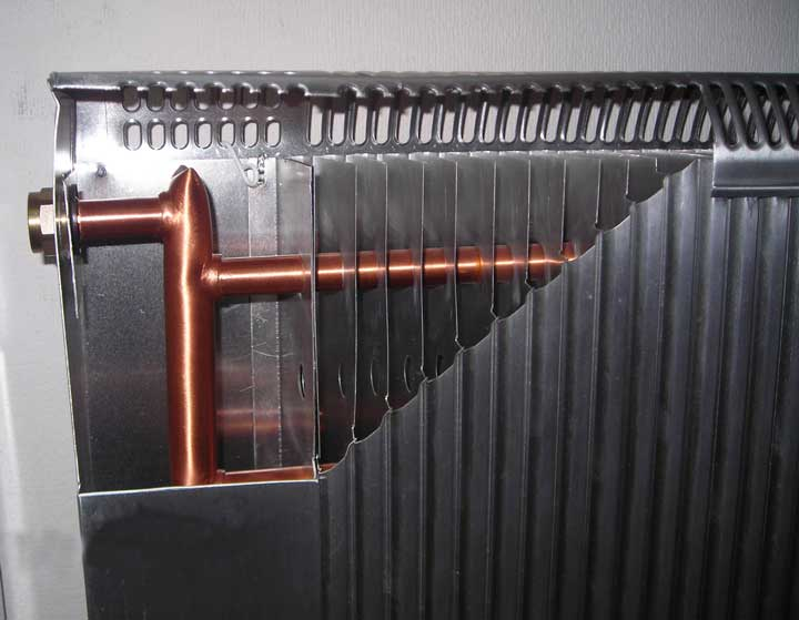 Алюминевый радиатор в разрезе