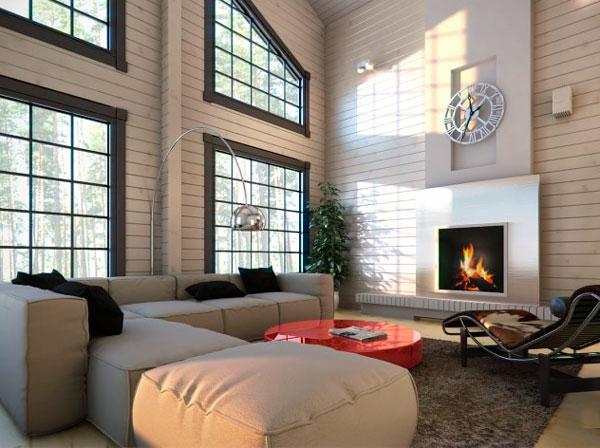 Большие окна и камин для ваших гостей