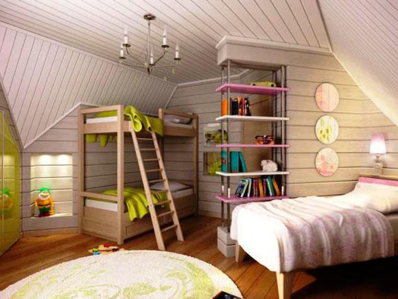 Двухэтажная кровать в детской комнате