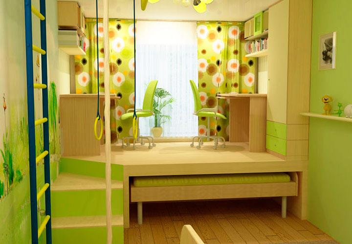 Обустройство детской комнаты с лестницей