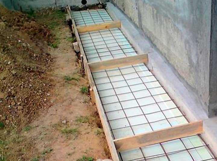Заливка бетона на отмостку с утеплителем