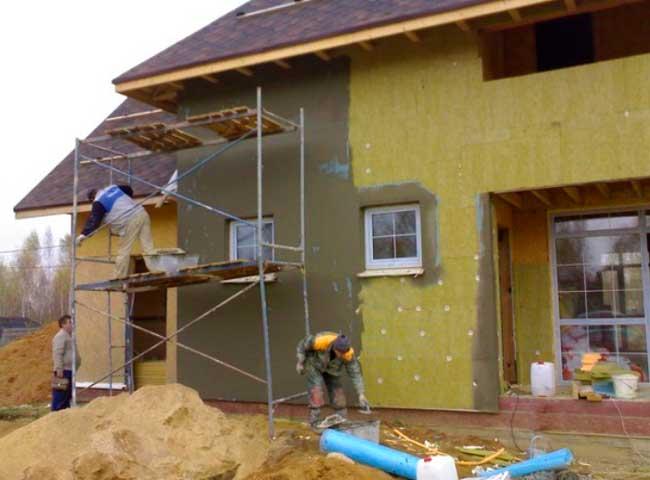 Мокрый фасад каркасного дома