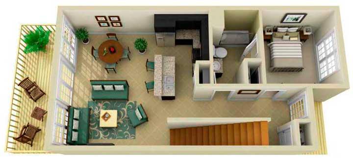 Планировка дома с лестинцей