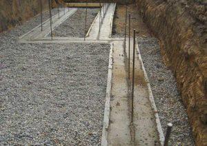 Заливка бетоном ленточного фундамента под каркасный дом