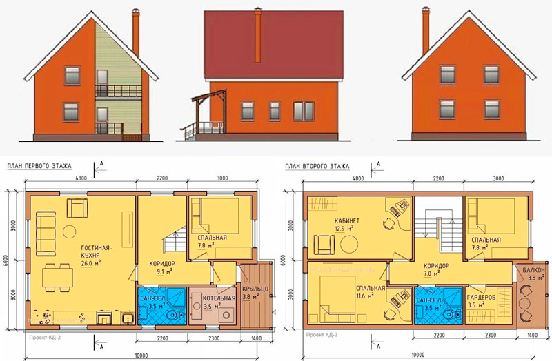 План чертеж каркасного дома