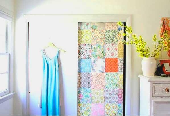 дверь декорированная с помощью ткани