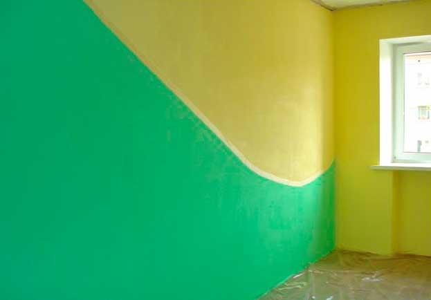 Окрашивание обоев под покраску в несколько цветов