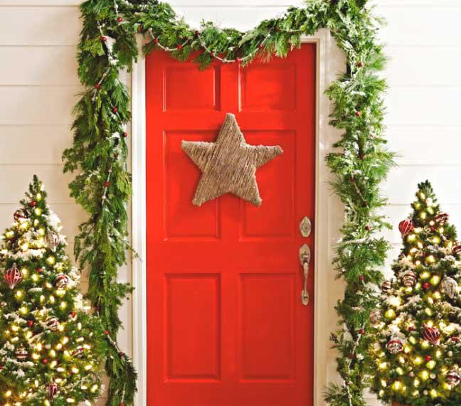 новогоднее оформление двери своими руками