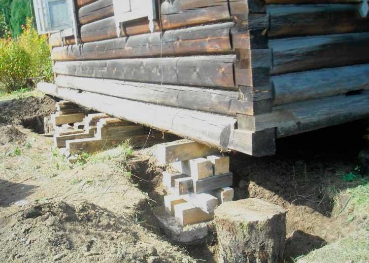 Ремонт столбчатого фундамента старого деревянного дома