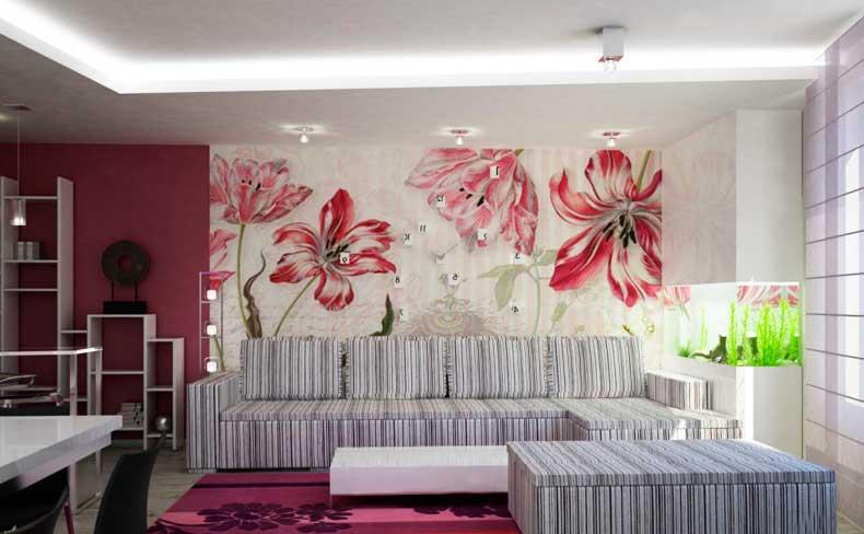 Зонирование гостиной с помощью двух видов обоев