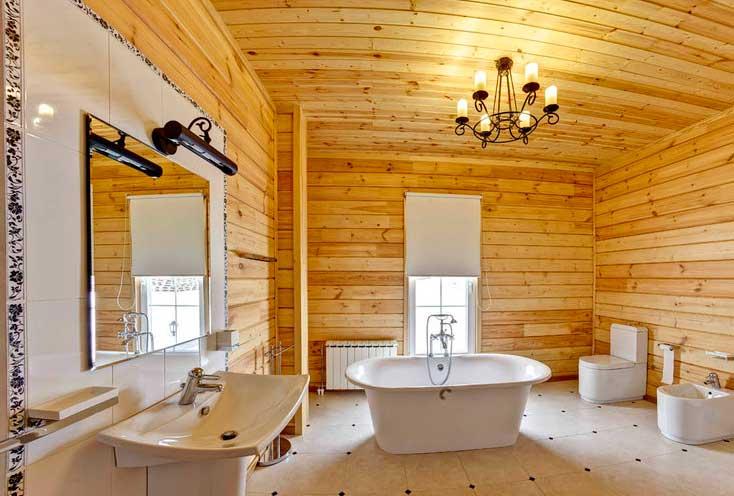 укладка плитки в ванной деревянного дома