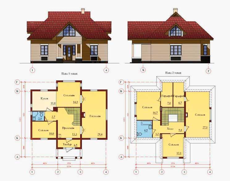 чертежи одноэтажных каркасных домов с мансардой