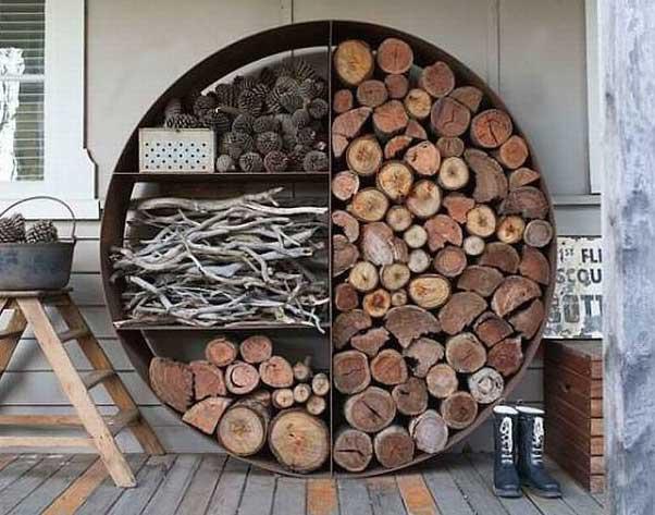 декоративный навес для дров из металла