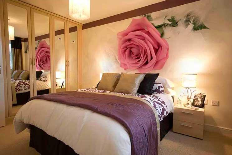 романтические фотообои в спальне