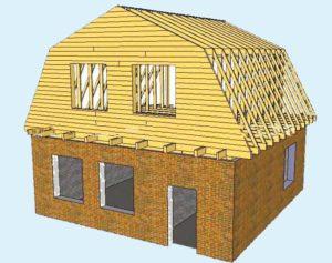 Фронтон и обрешетка мансардной крыши