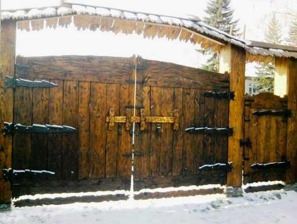 распашные ворота под старину