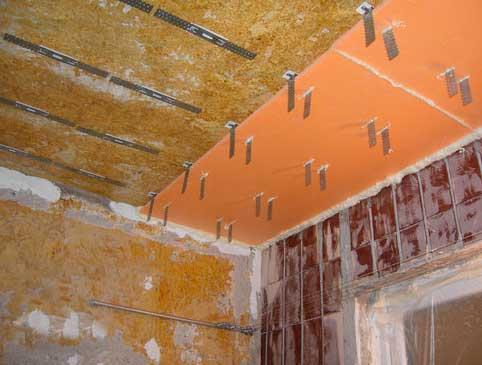 монтаж пенофлекса на потолок