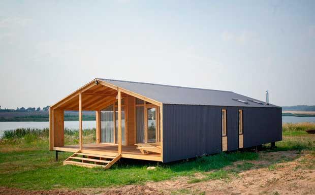 модульный дом с каркасом из модульный из дерева