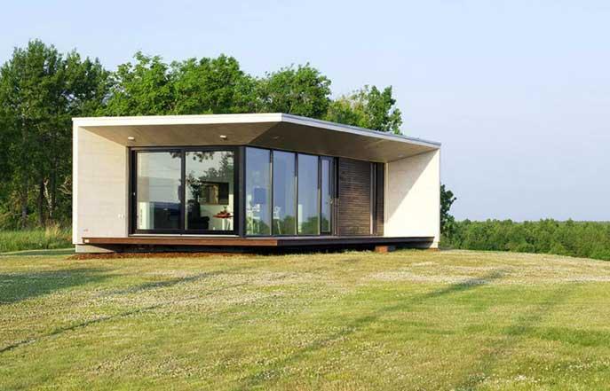 модульный дом с большими панорамными окнами