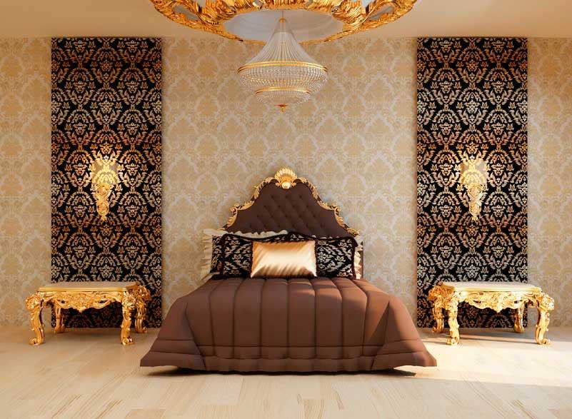 Роскошный интерьер спальни с отделкой стен тканью.