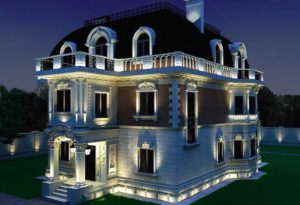 Скрытое освещение фасада дома