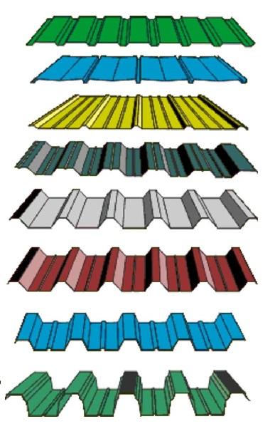 Различное профилирование металлического листа для профнастила