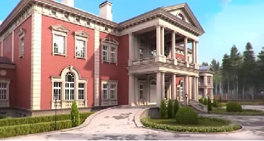 Розовый двухэтажный дом с колоннами в английском стиле