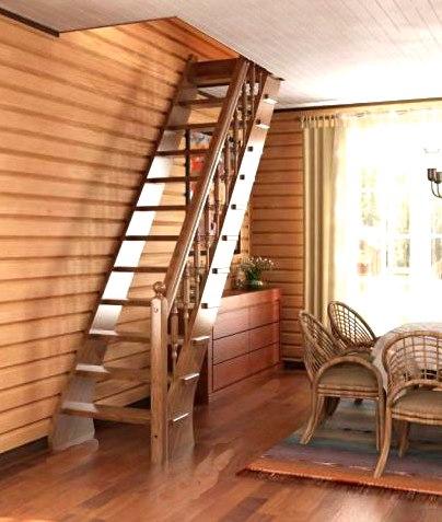 Маршевая лестница на чердак среди мебели из ротанга