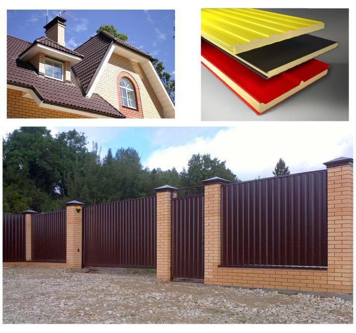 Крыша, панели и ограда из профнастила