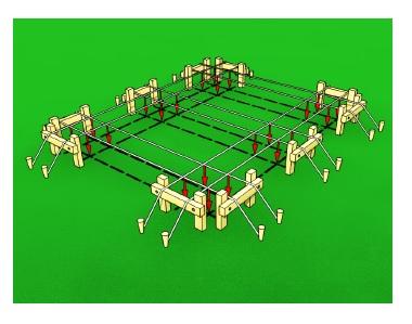 Модель разметки под фундамент на зеленом фоне