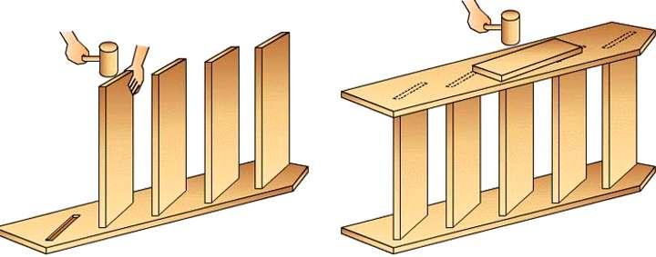 Как собрать лестницу гусиный шаг?