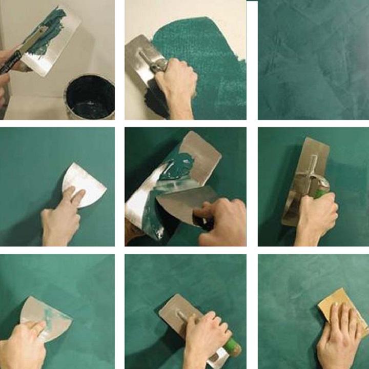 Шаги по нанесению венецианской штукатурки на стену