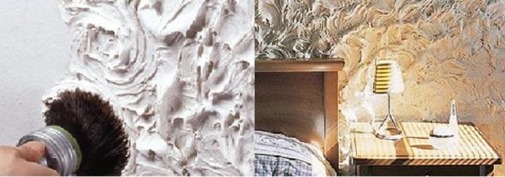 Вариант создания декоративных волн с помощью штукатурки
