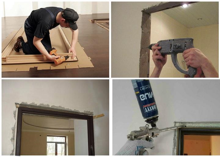 Процесс установки дверной коробки