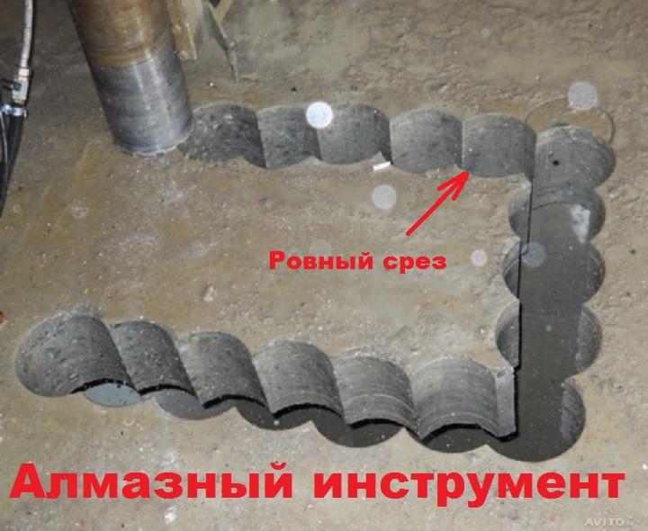 Отверстия алмазного инструмента по бетону