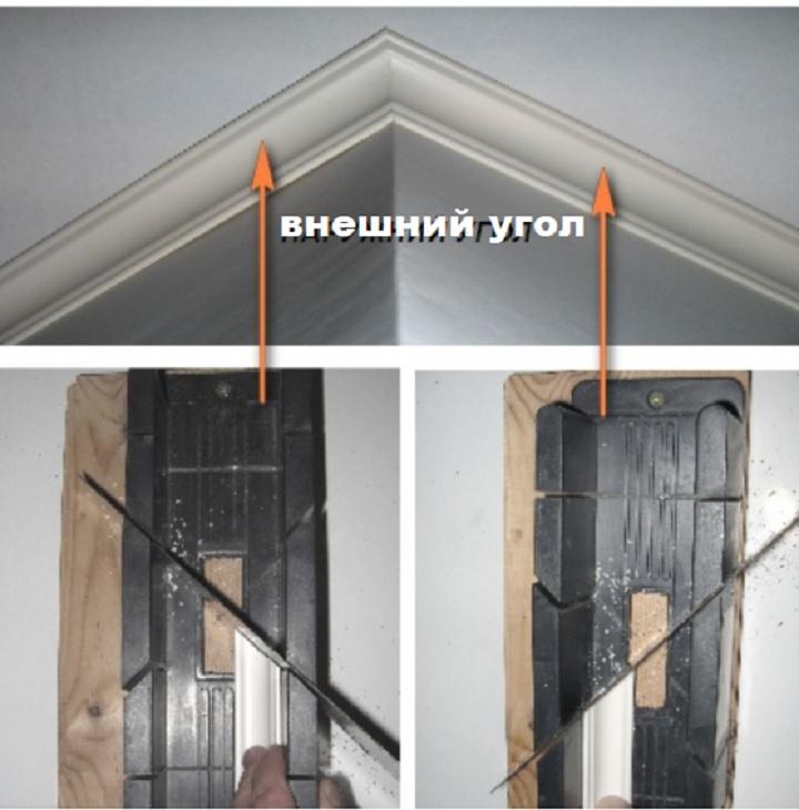 Оформление внешнего угла потолка