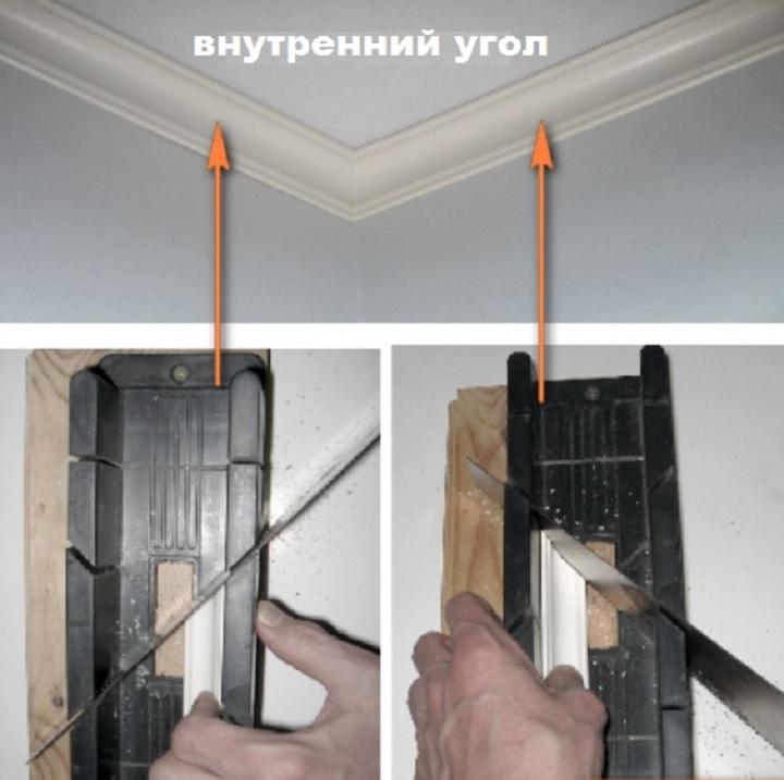 Оформление внутреннего угла потолка