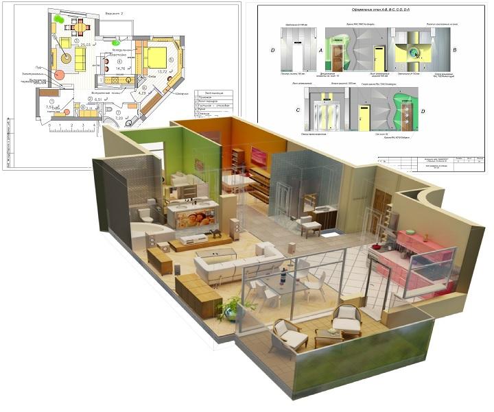 3Д и плановая схемы дизайн проекта частного дома