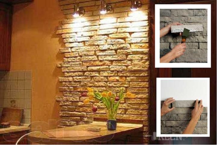 Декоративный камень в интерьере с подсветкой