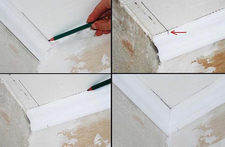 Оформляются углы потолочные путем разметки