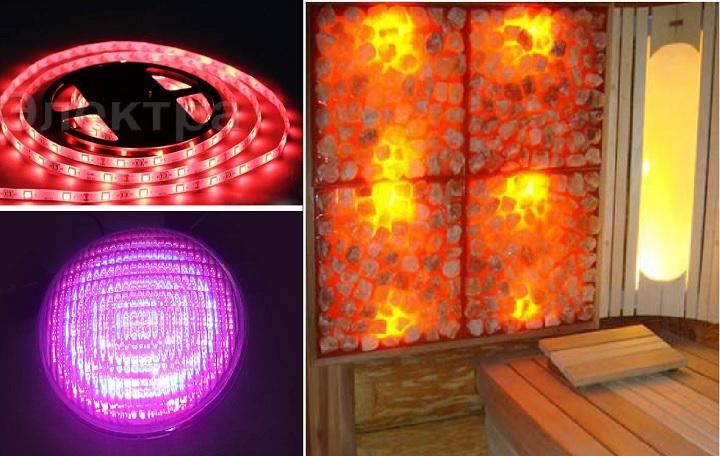 Лента, лампа для цветов и для бани - светодиодные