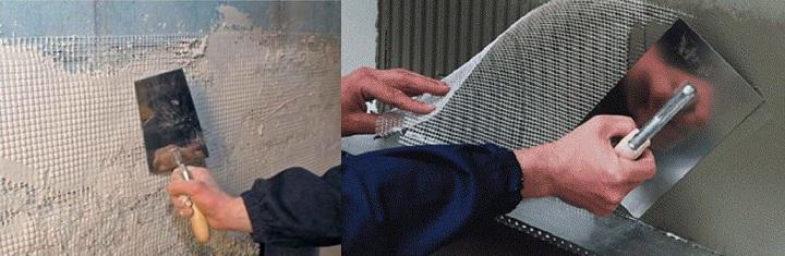 Армирование для выравнивания стены.