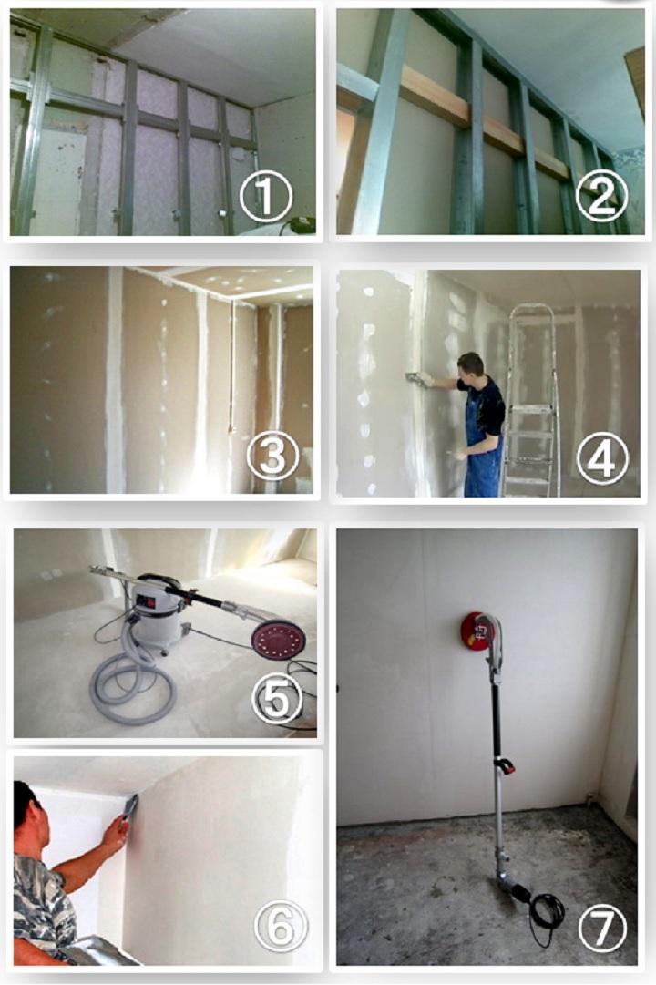 Порядок работ по выравниванию стены гипсокартоном