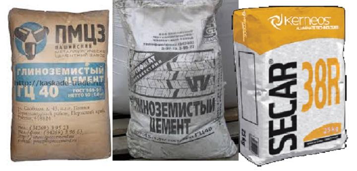 Мешки с глиноземистым цементом
