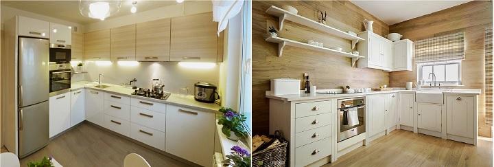 Г-образное расположение мебели в кухне