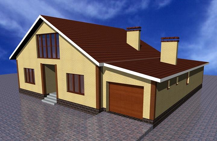 Внешний вид дома с гаражом и баней